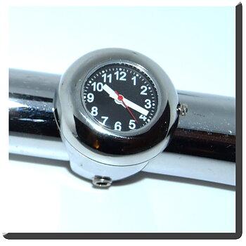 1-0823  Klocka för motorcyklar, krom-svart , mod. Old