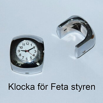 1-121 Motorcykelklocka för Feta styren, krom-vit