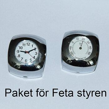1-123 Paket klocka och termometer för sk Feta styren, krom-vit