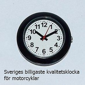 1-07813  Sveriges billigaste  klocka för motorcyklar. MC-klocka modell Slim, svart-vit