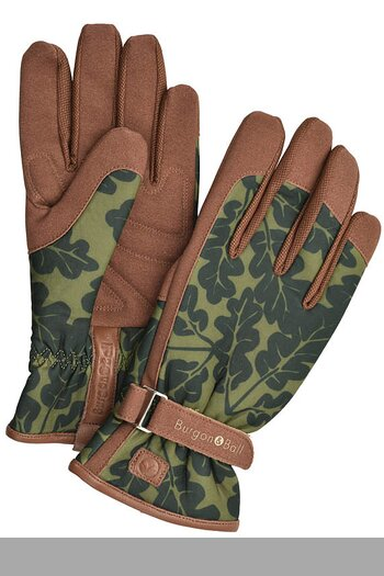 Burgon & Ball Oak Leaf Print Gardening Gloves S/M Moss Green