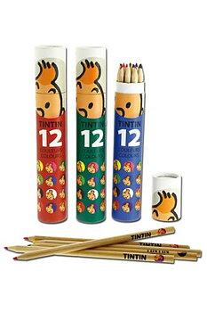 Tintin :  12 färgpennor i rund pappask - Blå ask