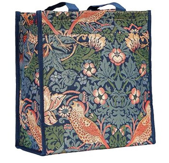 William Morris : Strawberry Thief blue - Shoppingväska Blå