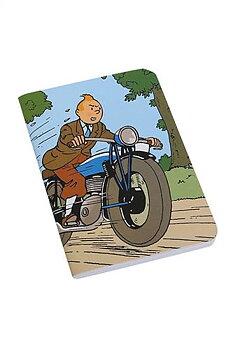 Tintin :  Tintin på motorcykel - Skrivbok med mjuka pärmar och sydd rygg linjerad A6+