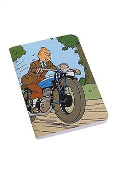 Tintin :  Tintin på motorcykel - Skrivbok med mjuka pärmar och sydd rygg linjerad Mini