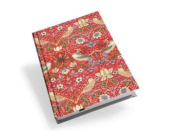 William Morris : Strawberry Thief Röd - Skrivbok linjerad med läsband A5
