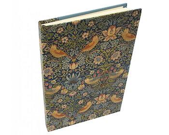 William Morris : Strawberry Thief Blå - Skrivbok linjerad med läsband A5