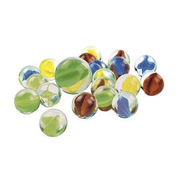 Glaskulor/puttekulor : Metallask med 20 små och en stor