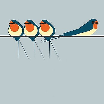 I like birds : Swallows on a line/Svalor - kort med kuvert