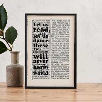 Book Page Print : Voltaire - Let us read and let us dance