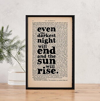 Book Page Print : Les Misérables Even the darkest night will end