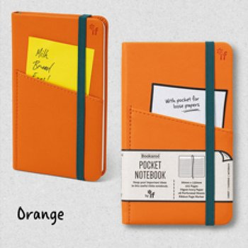 Bookaro : Pocket notebook med ficka och resårband - Orange A6