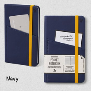 Bookaro : Pocket notebook med ficka och resårband - Navy A6