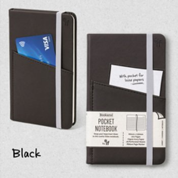 Bookaro : Pocket notebook med ficka och resårband - Black A6