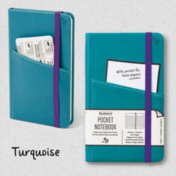 Bookaro : Pocket notebook med ficka och resårband - Turquoise A6