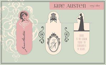 Jane Austen : Magnetbokmärken - 3 st på kort