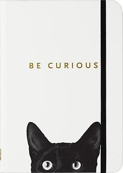 Be Curious : Cat Skrivbok med linjerade sidor och resårband - A6+