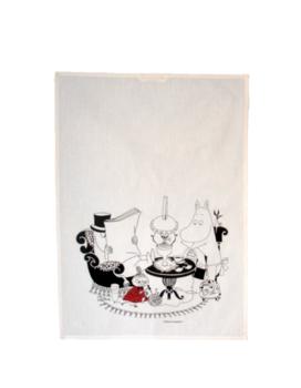 Mumin : Läsning och handarbete i salongen - Kökshandduk i halvlinne 70x50 cm