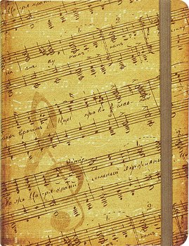 Music : Hardcover Journal - linjerad och varannan sida med notlinjer - A5