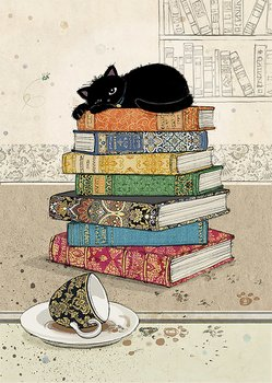 Bug Art : Books Kitty - kort med kuvert