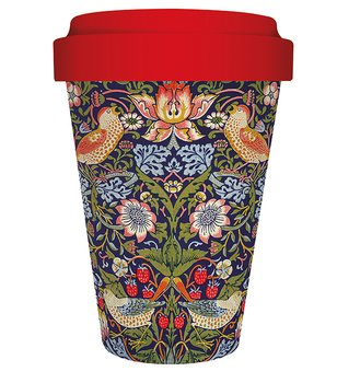 William Morris : Strawberry Thief Blå/Röd -  Bamboo travel mug - Mugg 45 cl
