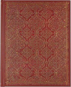Garnet Filigree : Gilded Journal - Mycket vacker bokinbunden linjerad skrivbok med filigranmönster, guldsnitt och läsband A5+