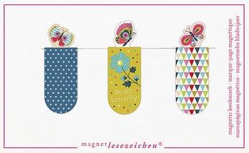 Fjärilar : Magnetbokmärken 3 st på kort