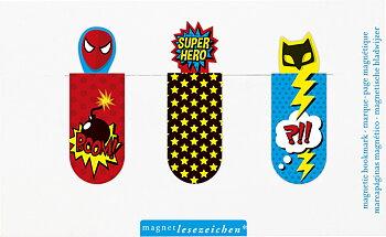 Super Hero : Magnetbokmärken 3 st på kort - Läsinspiration för unga läsare!
