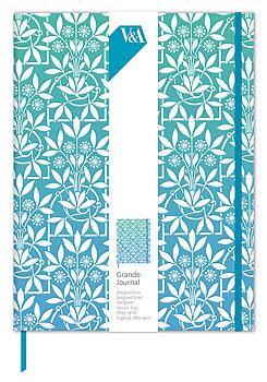 V&A : Sprig & Scroll : Lyxig skrivbok linjerad  A5+ med resårband