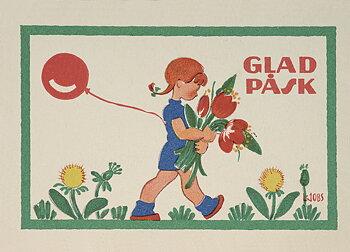 Lisbet Jobs : Påskballong - vykort