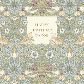 William Morris : Happy Birthday To You Blå - Kort med kuvert