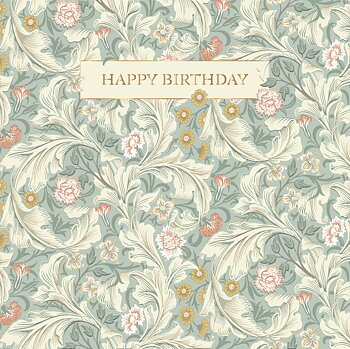 William Morris : Happy Birthday Blå - Kort med kuvert