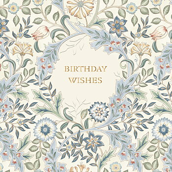 William Morris : Birthday Wishes Blå - Kort med kuvert
