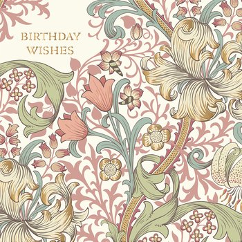 William Morris : Birthday Wishes Rosa - Kort med kuvert
