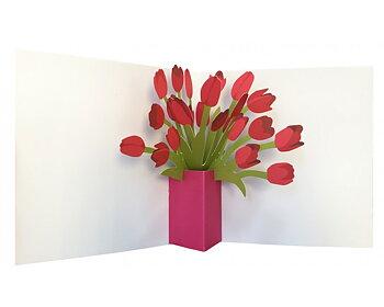 Flowers in a vase : Popup-kort med tulpaner som vecklar ut sig