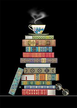 Bug Art : Book Pile - kort med kuvert