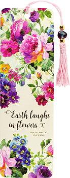 Earth laughs in flowers : bokmärke med tofs och pärla