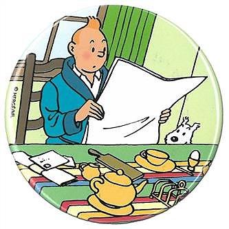Tintin :  Kylskåpsmagnet - Tintin läser tidningen