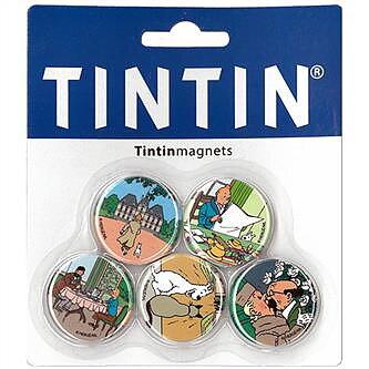 Tintin :  Kylskåpsmagneter Moulinsart - Set med fem runda magneter