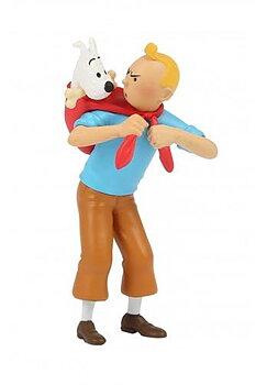 Tintin :  Plastfigur - Tintin med Milou på ryggen