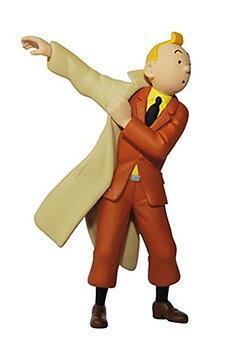Tintin :  Plastfigur - Tintin tar på sig trenchcoat