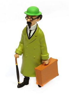 Tintin :  Plastfigur - Professor Kalkyl med resväska