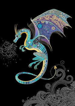 Bug Art : Blue Dragon - kort med kuvert