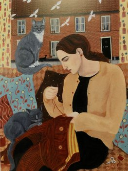 Dee Nickerson : Sewing on buttons with two grey cats - Kort med kuvert