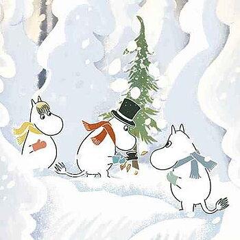 Mumin : Jul - hugga julgran - Kort med kuvert