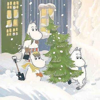Mumin : Jul - bära hem julgranen - Kort med kuvert