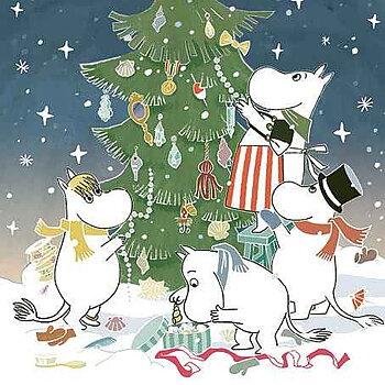 Mumin : Jul - klä granen - Kort med kuvert