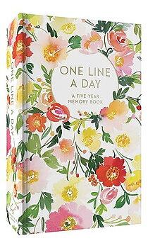 One Line a Day : Floral - Femårsdagbok i blommande omslag med guldfoliering och guldsnitt A6+