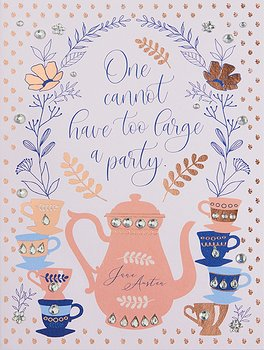 Jane Austen : Tea Party Birthday Embellished Card - kort med pärlor och kuvert