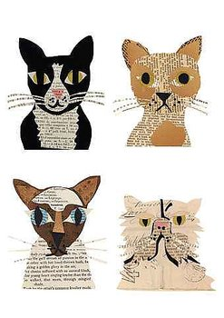 Denise Fiedler : Works in paper Cat Gang - Kort med kuvert